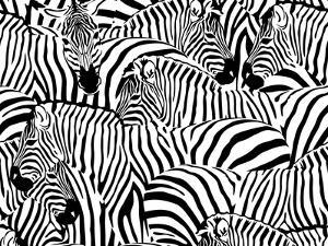 Abstract Illustration Herd of Zebras, Animal Seamless Pattern, Fashion Striped Print, Monochrome, C by Viktoriya Panasenko