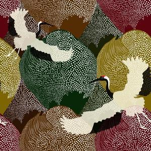 Abstract Illustration of Two Japanese Cranes Flying over a Field and Forest in the Background Patte by Viktoriya Panasenko