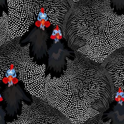 Abstract Illustration of Two Rooster and Hen (Chicken) in Background Black White Polka Dots, Cock S