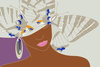 Abstract Portrait of an African Woman in a Hat with a Butterfly, Pink Lipstick and Earrings Beauty