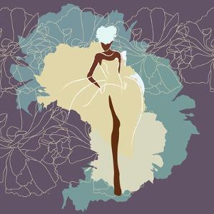 Abstract Sketch of a Woman in a Wedding Dress, Background of Watercolor Spots, Fashion Week, Color by Viktoriya Panasenko