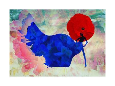Abstract Sketch of a Woman in Navy  Blue,  Floral Dress and  Red Hat in Form Poppy, Color Fashion P