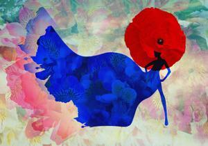 Abstract Sketch of a Woman in Navy  Blue,  Floral Dress and  Red Hat in Form Poppy, Color Fashion P by Viktoriya Panasenko