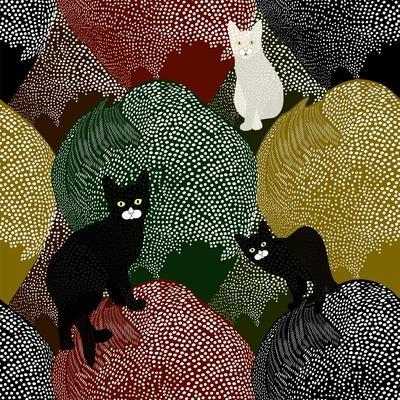 Abstract Sketch of Fun Little Black and White Kittens on a Colorful Background with Polka Dots, Fas