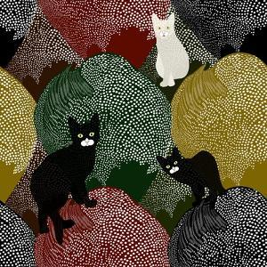 Abstract Sketch of Fun Little Black and White Kittens on a Colorful Background with Polka Dots, Fas by Viktoriya Panasenko