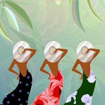 Abstract Sketch of Models in Dresses with Floral (Green, Red and Black) and Striped Hats, Backgroun