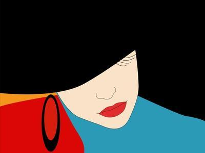 Abstract Vector Pattern of a Beautiful Girl in a Black Hat, Blue Dress, Red Lipstick. Beauty and Fa