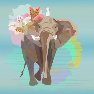 Abstract Watercolor Illustration of a Big Elephant with Small White Bird , Background Sky and the R by Viktoriya Panasenko