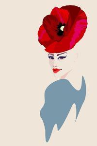 Abstract Watercolor Portrait of Women in Hat Form of a Red Poppy, Beauty Fashion Logo, Makeup , Bea by Viktoriya Panasenko
