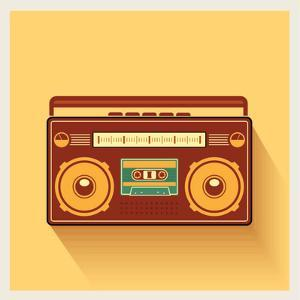Classic 80S Boombox Portable Cassette Tape Player on Retro Background Detailed Vector Icon by Viktorus