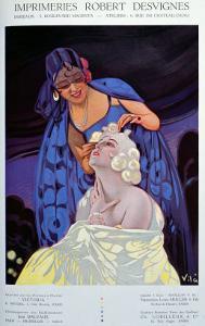 Spanish Hairdresser, from Bulletin Officiel du Syndicat Des Imprimeurs, 1928 by Vila