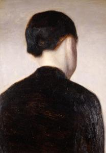 A Girl from Behind, Half Length, circa 1884 by Vilhelm Hammershoi