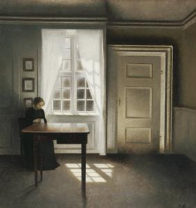 A Woman Sewing in an Interior by Vilhelm Hammershoi