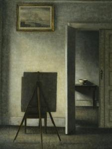 An Interior with the Artist's Easel by Vilhelm Hammershoi