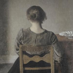 """""""Huile"""" (repos) by Vilhelm Hammershoi"""
