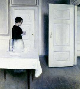 Interior with a Woman Reading a Letter, Strandgade 30 by Vilhelm Hammershoi