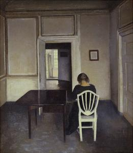 Interior with a Woman Seated on a White Chair by Vilhelm Hammershoi