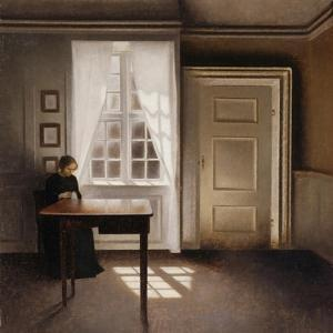 Woman Doing Needle-Work by the Window by Vilhelm Hammershoi