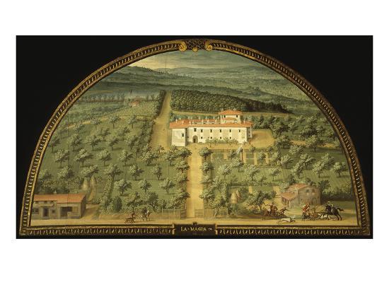 Villa La Magia, Tuscany, Italy, from Series of Lunettes of Tuscan Villas, 1599-1602-Giusto Utens-Giclee Print