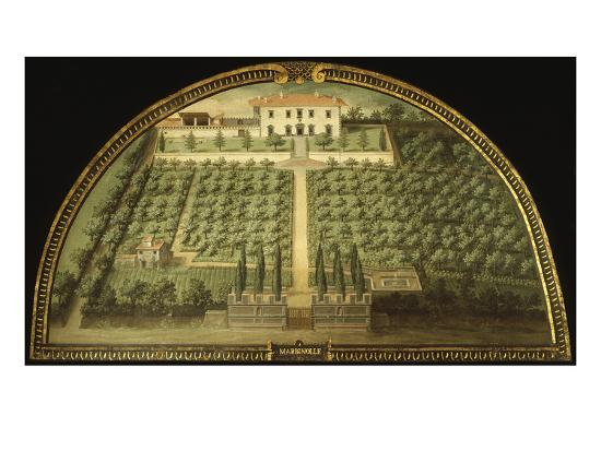 Villa Marignolle, Tuscany, Italy, from Series of Lunettes of Tuscan Villas, 1599-1602-Giusto Utens-Giclee Print