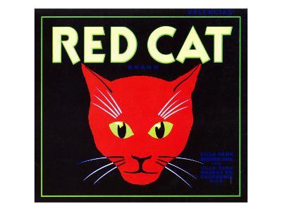 Villa Park, California, Red Cat Brand Citrus Label-Lantern Press-Art Print