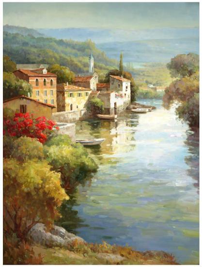 Village Along the River-Roger Decamp-Art Print
