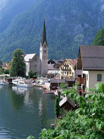 Village and Lake, Hallstatt, Austrian Lakes, Austria-Jean Brooks-Photographic Print