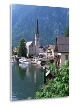 Village and Lake, Hallstatt, Austrian Lakes, Austria-Jean Brooks-Metal Print
