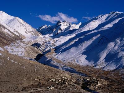 Village Below Mountains, Between Lung-La Pass and Nyalam in Tsang District, China-Pershouse Craig-Photographic Print