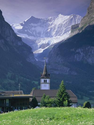 Village Church and Oberer Grindelwald Glacier, Jungfrau Region, Swiss Alps, Switzerland-Gavin Hellier-Photographic Print