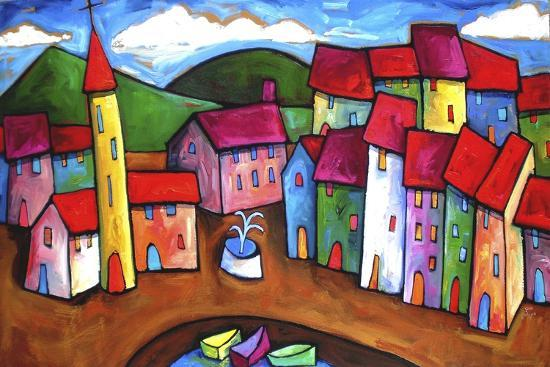 Village in the Costa Brava, Spain-Sara Catena-Giclee Print