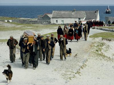 Village Men Carry a Coffin, Women in Red Skirts Follow in Procession-Jim Sugar-Photographic Print