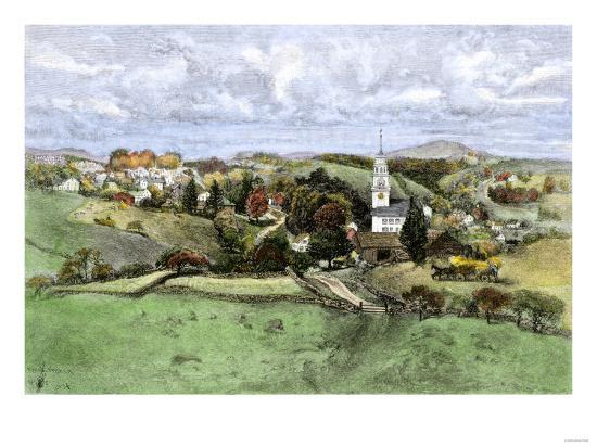 Village of New Boston, New Hampshire, in the 1800s--Giclee Print