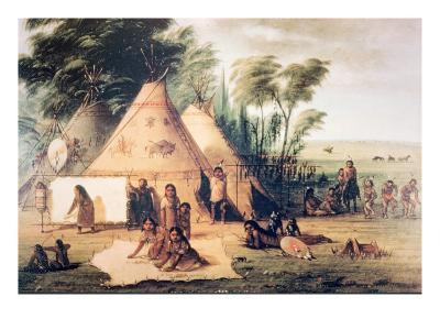 Village of the North American Sioux Tribe-George Catlin-Giclee Print