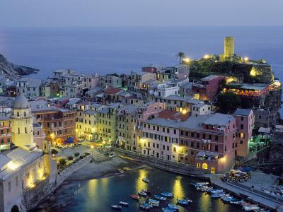 Village of Vernazza in the Evening, Cinque Terre, Unesco World Heritage Site, Liguria, Italy-Bruno Morandi-Photographic Print