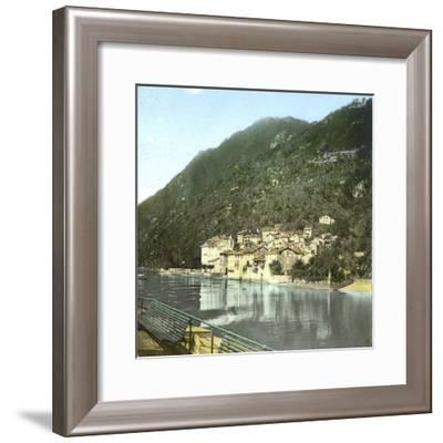 Village on the Banks of the Lake Como (Italy), Circa 1890-Leon, Levy et Fils-Framed Photographic Print