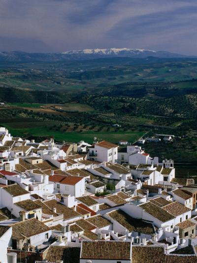 Village Rooftops and Distant Snow-Capped Mountains, Olvera, Andalucia, Spain-David Tomlinson-Photographic Print