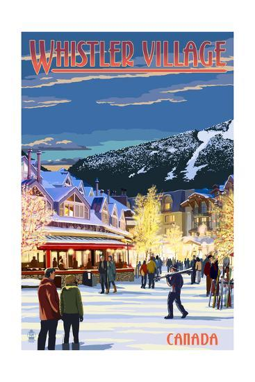 Village Scene - Whistler, Canada-Lantern Press-Art Print