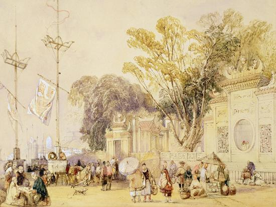 """Village Square in the Bay of Hong Kong, Plate 5 from """"Sketches of China""""-Auguste Borget-Giclee Print"""