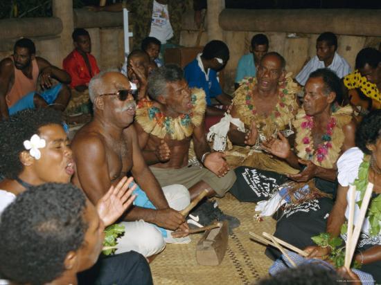 Villagers Singing at Cava Evening, Waya Island, Yasawa Group, Fiji, South Pacific Islands, Pacific-Julia Bayne-Photographic Print