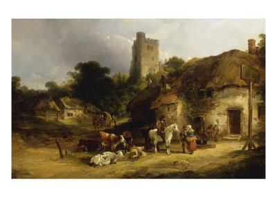 Villagers with their Animals outside the Plough Inn-William Shayer-Giclee Print