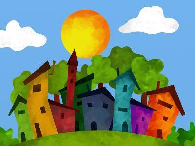 Villaggio in Estate-goccedicolore-Art Print