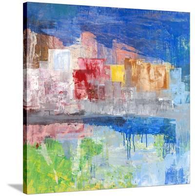Villaggio sul lago-Italo Corrado-Stretched Canvas Print