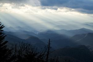 Setting Sun on Mountains in the Blue Ridge Mountains of Western North Carolina by Vince M. Camiolo
