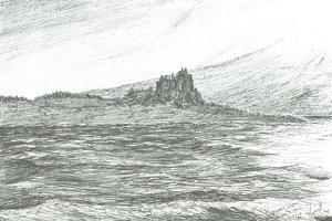 Duart Castle from ferry;2007 by Vincent Alexander Booth