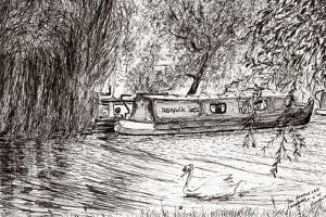 Narrow boats Cambridge, 2005, by Vincent Alexander Booth