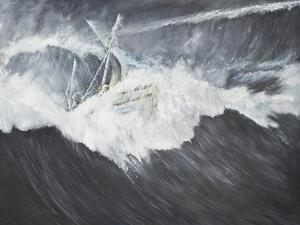The Gigantic Wave (2) Ernest Shackleton and Five Crew Aboard the James Caird, Midnight by Vincent Booth