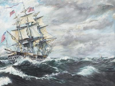 USS Constitution Heads for HM Frigate Guerriere