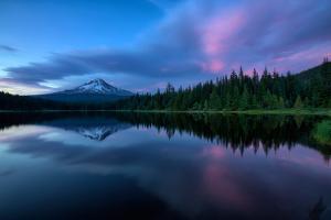 After Sunset at Trillium Lake Reflection, Summer Mount Hood Oregon by Vincent James