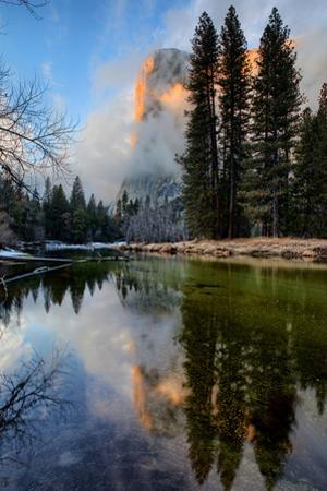 Along Merced River at El Capitan Storm Clearing Reflection Yosemite Valley by Vincent James